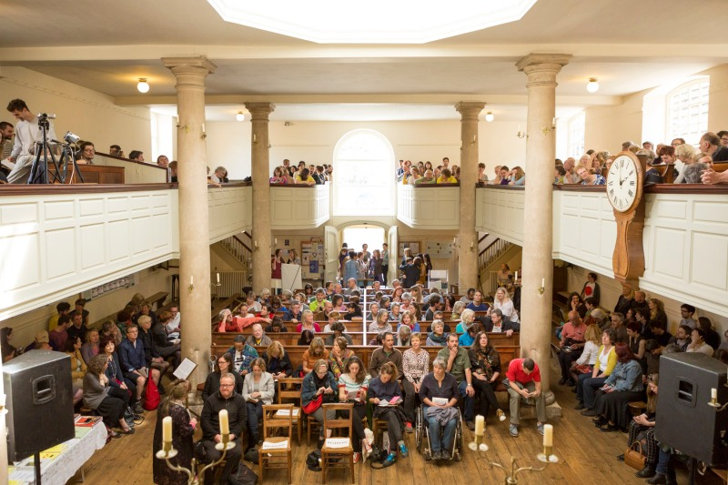 The full audience congretation at John Wesley's Chapel, The New Room, before the start of Jeremy Deller's lecture. Photo: Max McClure