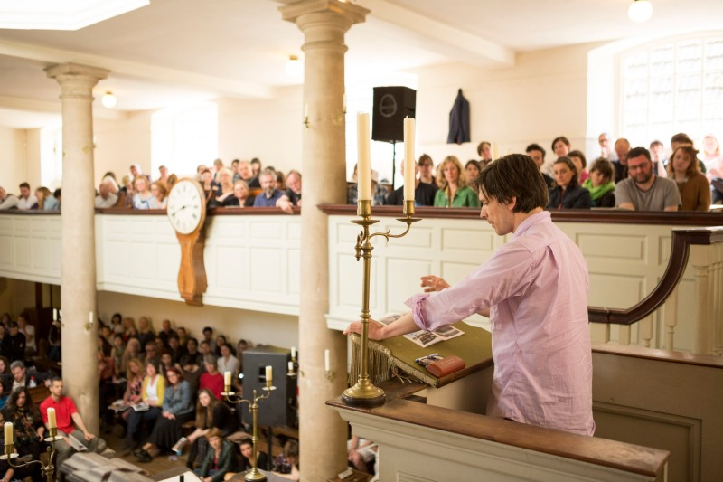 Jeremy Deller takes to the pulpit at the New Room, Bristol.
