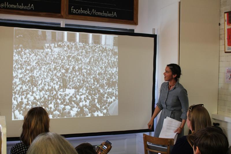 Futurefarmer Amy Franceschini gives her presentation to the delegates. Photo: Georgina Bolton